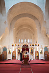 Altar and interior and unflustered walls of the church of St. Simeon the Myrrh-Gushing, Novi Beograd, Serbia