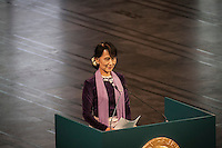 AUNG SAN SUU KYI gives her Nobel Peace Price lecture at the City Hall in Oslo during her second day at the norwegian city. Suu Kyi holds her first official diplomatic tour in Europe after 15 years in house arrest in Myanmar. She visits Switzerland, Norway, Ireland, Britain and France from June 13 to June 29 2012. .