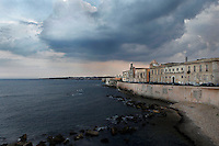 General view of Lungomare d'Ortigia, Syracuse, Sicily,  with Castello Maniace in the distance, pictured on September 12, 2009, in the afternoon from the Forte Vigliena in Ortigia. The island Ortigia is the historic centre of Syracuse. Today the city is a UNESCO World Heritage Site. Picture by Manuel Cohen.