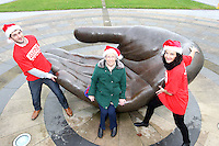 NO FEE PICTURES.30/11/11 Fair City Stars Ciara O'Callaghan (Yvonne Doyle) and Sam O'Mahony (Finn McGrath) with Florrie Biggs who uses ALONE, at the launch of ALONE Christmas Campaign in Dublin. Pictures:Arthur Carron/Collins