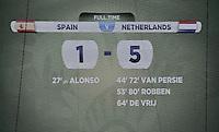 FUSSBALL WM 2014  VORRUNDE    Gruppe B     Spanien - Niederlande                13.06.2014 Historisches Dokument: Anzeigetafel mit dem Endergebnis von 1:5
