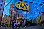 People exit one of Best Buy stores in Manhattan. Best Buy will Management discusses Q4 results on thursday in New York, United States. 28/03/2012.  Photo by Eduardo Munoz Alvarez / VIEWpress.