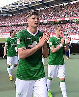 Fussball 1. Bundesliga   Saison  2012/2013   34. Spieltag   1. FC Nuernberg - SV Werder Bremen       18.05.2013 Sebastian Proedl (li, SV Werder Bremen) und Nils Petersen (SV Werder Bremen) mit Dank an die mitgereisten Werder Fans