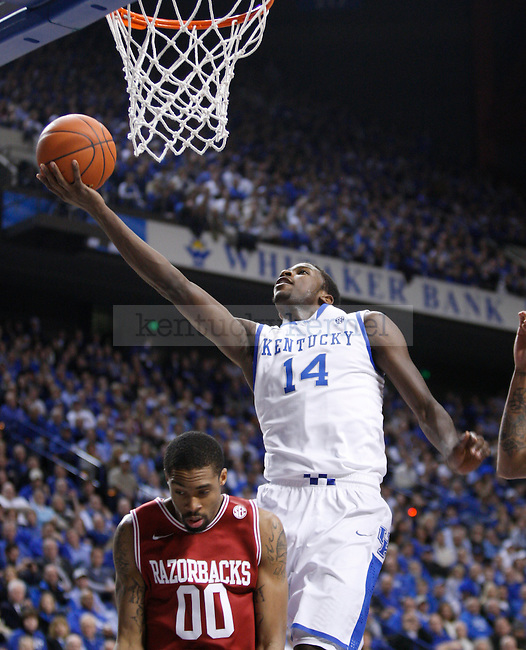 UK's Michael Kidd-Gilchrist lays the ball up against Arkansas at Rupp Arena on Tuesday, Jan. 17, 2012. Photo by Scott Hannigan   Staff