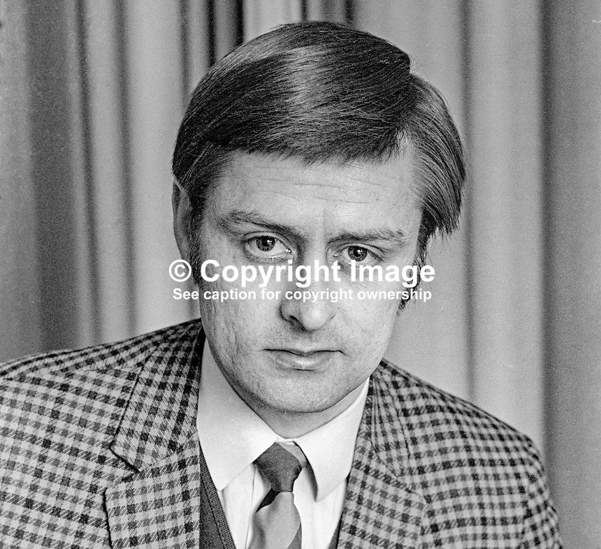 Fraser Agnew, Ulster Unionist, candidate, March, 1972, later Mayor of Newtownabbey &amp; MLA. 197203000170<br />