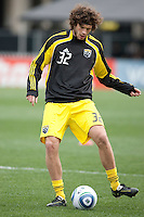 Mar 26, 2011; Columbus, OH, USA; Columbus Crew forward Tom Heinemann (32) in warmups before their match against New York Red Bulls during their match at Columbus Crew Stadium.