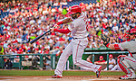 22 May 2015: Washington Nationals outfielder Denard Span in action against the Philadelphia Phillies at Nationals Park in Washington, DC. The Nationals defeated the Phillies 2-1 in the first game of their 3-game weekend series. Mandatory Credit: Ed Wolfstein Photo *** RAW (NEF) Image File Available ***