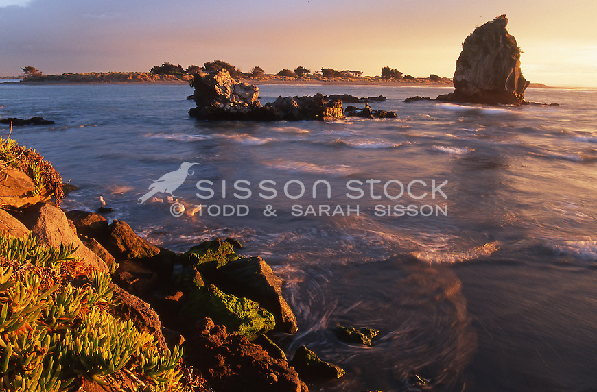A beautiful sunset view of shag rock at redcliffs near sumner Christchurch canterbury.  Shag rock is situated on the entrance to the heathcote estuary on the east coast of New Zealand. Sadly iconic shag rock was totally destroyed by the tragic 2011 Christchurch earthquake and now is a pile of rubble..