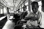 Passengers on the tram in Calcutta/Kolkata, India. Kolkata is the only Indian city with  tram system.
