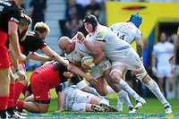 Jack Yeandle of Exeter Chiefs takes on the Saracens defence with support from team-mate Mitch Lees. Aviva Premiership Final, between Saracens and Exeter Chiefs on May 28, 2016 at Twickenham Stadium in London, England. Photo by: Patrick Khachfe / JMP