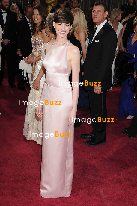Anne Hathaway arriving for the 85th Academy Awards at the Dolby Theatre, Los Angeles.
