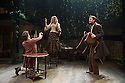 London, UK. 21.11.2013.  LIZZIE SIDDAL, a new play by Jeremy Green, opens at the Arcola Theatre. Picture shows: Tom Bateman (Dante Gabriel Rosetti), Jayne Wisener (Annie Miller) and Simon Darwen (William Holman Hunt). Photograph © Jane Hobson.