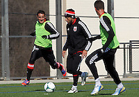 WASHINGTON, DC - February 06, 2012: Neven Markovic and Dwayne De Rosario of DC United during a pre-season practice session at Long Bridge Park, in Arlington, Virginia on February 6, 2013.