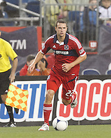 Chicago Fire defender Austin Berry (22) at midfield. In a Major League Soccer (MLS) match, the New England Revolution defeated Chicago Fire, 2-0, at Gillette Stadium on June 2, 2012.