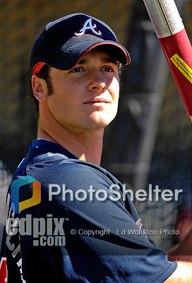 5 March 2007: Atlanta Braves catcher Jarrod Saltalamacchia prepares to take batting practice prior to facing the Washington Nationals at Disney's Wide World of Sports in Orlando, Florida. The Braves are celebrating 10 years of Spring Training at the Disney facility.<br /> <br /> Mandatory Photo Credit: Ed Wolfstein Photo