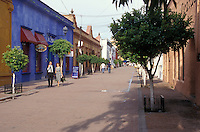 The main shopping street in Tlaquepaque, a fashionable arts and crafts centre on the outskirts of Guadalajara, Jalisco, Mexico