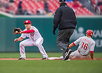 28 April 2016: Philadelphia Phillies second baseman Cesar Hernandez steals second as Washington Nationals second baseman Danny Espinosa takes a late throw in the 5th inning at Nationals Park in Washington, DC. The Phillies shut out the Nationals 3-0 to sweep their mid-week, 3-game series. Mandatory Credit: Ed Wolfstein Photo *** RAW (NEF) Image File Available ***