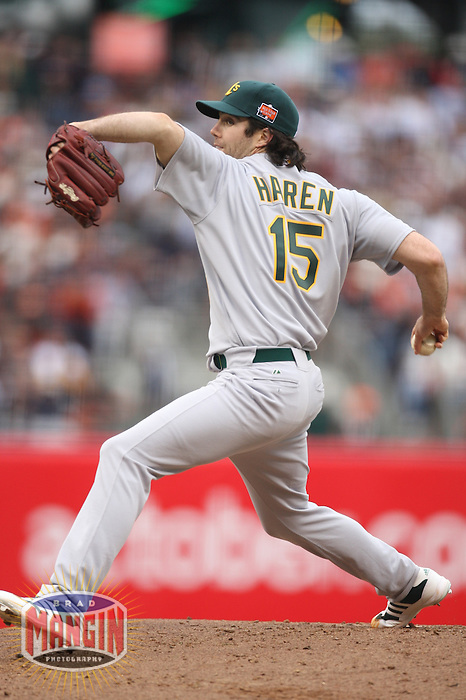 SAN FRANCISCO - JULY 10: Dan Haren of the Oakland Athletics and American League in action during the All Star Game against the National League at AT&T Park in San Francisco, California on July 10, 2007.  Photo by Brad Mangin