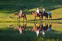 Farm hands riding their horses along a calm pond