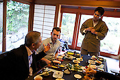 Hugh Montgomery (2nd from left)) of The Independent, and Tetsuro Hama (1st from left of image)- owner of SO Restaurant London, dining in Kanga-an temple, a restaurant serving Shojin-ryori cuisine (eaten mainly by Buddhist followers), in Kyoto, Japan, on Friday 13th January 2012.