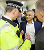 Sadia Khan at London&rsquo;s Night Tube launch at Brixton tube station, London, Great Britain <br /> 19th August 2016 <br /> <br /> Paul Crowther - BTP Chief Constable talks to Sadia Khan - Mayor of London <br /> Mike Brown TFL - Commissioner<br /> <br /> <br /> Sadia Khan, mayor of London,  launched the first night tube service and travelled on a tube train between Brixton and Walthamstow on the Victoria Line. <br />  <br /> He launched the first 24 hour Friday and Saturday night services on the Central and Victoria lines <br /> <br /> Photograph by Elliott Franks <br /> Image licensed to Elliott Franks Photography Services