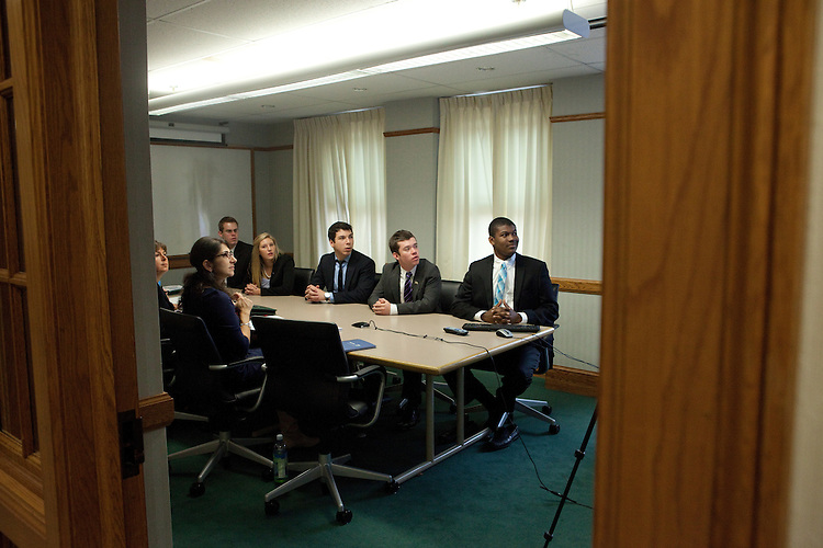 Orhan Menthse, Tatjana Saunders, Alex Howell, Kevin Hill and Jared Dudas at the College of Business Clusters in Copeland Hall on October 31, 2013.