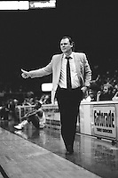 OAKLAND, CA - Head coach George Karl of the Golden State Warriors coaches his team during a game at the Oakland Coliseum Arena in Oakland, California in 1988. Photo by Brad Mangin