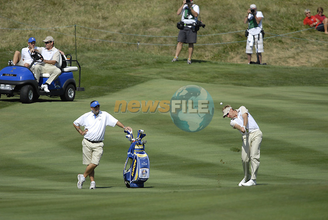European Team member Ian Poulter plays his 2nd shot on the 13th hole during Practice Day1 of the 37th Ryder Cup at Valhalla Golf Club, Louisville, Kentucky, USA, 17th September 2008 (Photo by Eoin Clarke/GOLFFILE)