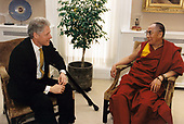 United States President Bill Clinton, left, meets His Holiness, the XIV Dalai Lama, Tenzin Gyatso, right, in the White House West Wing office of Vice President Al Gore (not pictured) in Washington, D.C. on Wednesday, April 23, 1997.<br /> Mandatory Credit: Ralph Alswang - White House via CNP