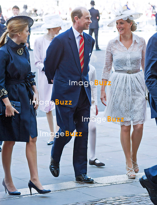 PRINCESS BEATRICE, PRINCE EDWARD AND SOPHIE<br /> joined The Queen and other members of the Royal Family for  A Service to Celebrate the 60th Anniversary of the Coronation Service at Westminster Abbey, London_04/06/2013<br /> Members of the Royal Family attending the Service included The Prince of Wales and The Duchess of Cornwall, The Duke and Duchess of Cambridge, Prince Henry of Wales, The Duke of York and Princesses Beatrice and Eugenie, The Earl and Countess of Wessex and The Lady Louise Mountbatten-Windsor, The Princess Royal, Vice Admiral Sir Tim Laurence, Peter Phillips and Autumn (Kelly) Phillips, Zara (Phillips) Tindall and Mike Tindall, The Duke and Duchess of Gloucester, The Duke and Duchess of Kent, Prince and Princess Michael of Kent