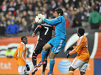Houston Dynamo goalkeeper Tally Hall (1) goes up to make a save. D.C. United tied The Houston Dynamo 1-1 but lost in the overall score 4-2 in the second leg of the Eastern Conference Championship at RFK Stadium, Sunday November 18, 2012.