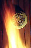 SMOKE DETECTOR<br /> Smoke Detector &amp; Fire<br /> A radioactive source ionizes charged air particles between two electrodes. When smoke particles enter the chamber they attract the ions and reduce the current. A microchip responds to the reduced current by activating an alarm.