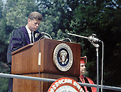 United States President John F. Kennedy speaks at the American University commencement in Washington, D.C.  on June 10, 1963.  This speech is known as Kennedy's &quot;Pax Americana&quot; speech, where he outlined his vision for world peace.  <br /> Credit: Arnie Sachs / CNP