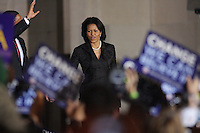 Michelle Obama, wife of Democratic presidential candidate Barack Obama, greets fans during a rally held on the night of the Texas primary election, March 4, 2008, in front of the Municipal Auditorium building in San Antonio, Texas. (Darren Abate/PressPhotoIntl.com)
