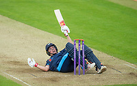 Picture by Allan McKenzie/SWpix.com - 16/05/2017 - Cricket - Royal London One-Day Cup - Yorkshire County Cricket Club v Leicestershire County Cricket Club - Headingley Cricket Ground, Leeds, England - Yorkshire's Gary Ballance falls and hits his wicket after making 71 against Leicestershire.