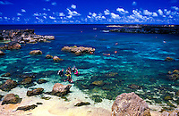 Snorkelers explore the clear blue waters of Pupukea Beach, also known as Shark's Cove. It is a marine life conservation park located on the north shore of Oahu.