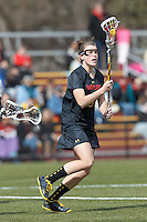 University of Maryland midfielder Kelly McPartland (6)..University of Maryland (black) defeated Boston College (white), 13-5, on the Newton Campus Lacrosse Field at Boston College, on March 16, 2013.