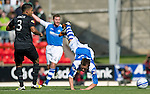 St Johnstone v Celtic....15.09.12      SPL  .Peter Pawlett is sent flying by Emilio Izaguirre.Picture by Graeme Hart..Copyright Perthshire Picture Agency.Tel: 01738 623350  Mobile: 07990 594431