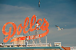Seagulls buzz workers repainting the Dolles sign in the spring.  The landmark sign above Dolles Salt Water Taffy is a landmark at the intersection between the beach boardwalk and the end of Rehoboth Avenue in Rehoboth Beach, Delaware, USA.