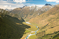 Matukituki Valley with river and Harris mountains on right, Mt. Aspiring National Park, Central Otago, South Island, World Heritage Area,New Zealand
