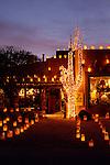 Luminarias and holiday lights in Tubac, Arizona