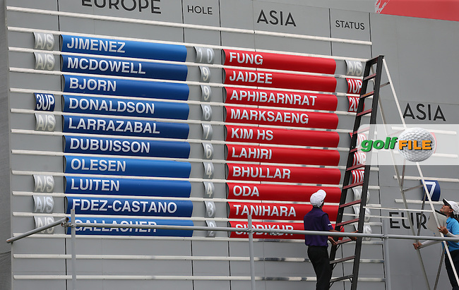 On currently scoring the Cup could be won by either team during the final day of Singles matches at the 2014 EurAsia Cup presented by DRB-Hicom, at the Glenmarie Golf & Country Club, Kuala Lumpur, Malaysia. Picture:  David Lloyd / www.golffile.ie