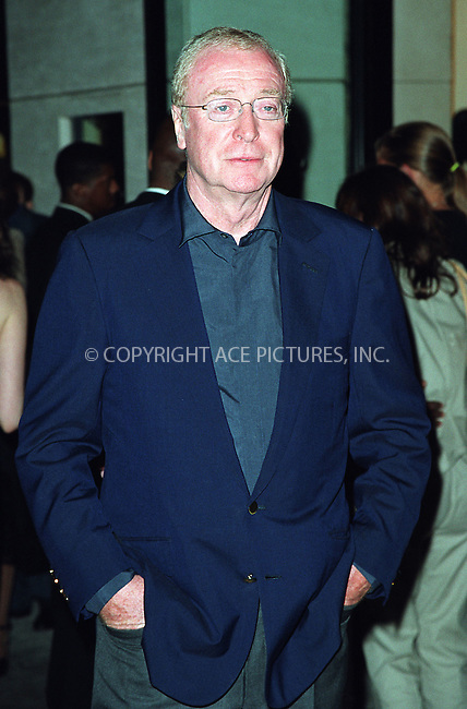 "Michael Caine attending the New York Premiere of ""Austin Powers in Goldmember"" at Barney's New York on Madison Avenue in New York. July 24, 2002. Please byline: Alecsey Boldeskul/NY Photo Press.   ..*PAY-PER-USE*      ....NY Photo Press:  ..phone (646) 267-6913;   ..e-mail: info@nyphotopress.com"