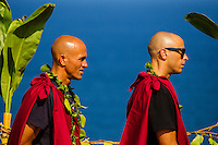 "Pe'ahi, Maui, HAWAII - (December 8, 2012) Kelly Slater (USA) and Shane Dorian (HAW). - Invitees and alternates of the RED BULL JAWS, Paddle at Pe'ahi big wave event gathered high upon the Pe'ahi Overlook in a private blessing that officially opened the three-month holding period for this one-day event. A spiritual ceremony, deeply rooted in Maui's history and Polynesian culture, took place under unusually clear and hot skies, with barely a breath of wind.  . The RED BULL JAWS, Paddle at Pe'ahi presented by Casio G'z One is a one-day big wave paddle-in surfing event that will be held on a single day between December 7, 2012 and March 15, 2013, when wave face heights reach between 30 and 50 feet, and with no assistance from motorized personal watercraft..Led by Kupuna Leslie Kuloloio and Kumu Pulama Collier, surfers listened to the ancestral story of Pe'ahi - known to Hawaiians as Ke Kai 'o Waitakulu, or ""the teary eye place"". Each was presented with a special kihei, or cloak, in recognition of their expertise in big wave riding..  Photo: joliphotos.com"