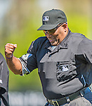 7 March 2013: MLB Home Plate Umpire Laz Diaz officiates a Spring Training game between the Washington Nationals and the Houston Astros at Osceola County Stadium in Kissimmee, Florida. The Astros defeated the Nationals 4-2 in Grapefruit League play. Mandatory Credit: Ed Wolfstein Photo *** RAW (NEF) Image File Available ***