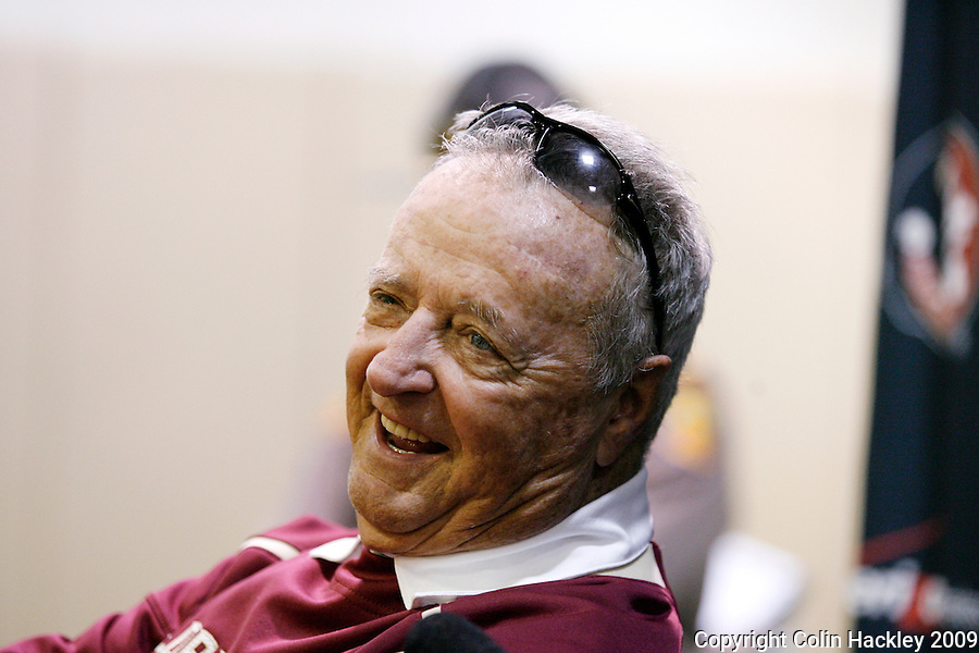 TALLAHASSEE, FL 11/21/09-FSU-MARY FB09 CH84-Florida State Head Coach Bobby Bowden talks about beating Maryland 29-26, Saturday at Doak Campbell Stadium in Tallahassee. COLIN HACKLEY PHOTO