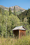 Wooden outhouse in the ghost town of Crystal in the Elk Mountains of Colorado