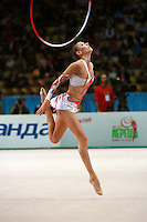 "Evgenia Kanaeva of Russia recatches with hoop during event finals at 2007 World Cup Kiev, ""Deriugina Cup"" in Kiev, Ukraine on March 18, 2007."