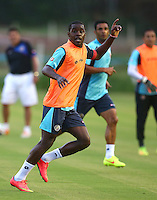 Joel Campbell of Costa Rica puts his hand up during the training session ahead of tomorrow's fixture vs Greece