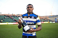 Semesa Rokoduguni of Bath Rugby poses with a Pol Roger bottle of champagne for his Man of the Match performance against Northampton Saints. Aviva Premiership match, between Bath Rugby and Harlequins on February 18, 2017 at the Recreation Ground in Bath, England. Photo by: Patrick Khachfe / Onside Images